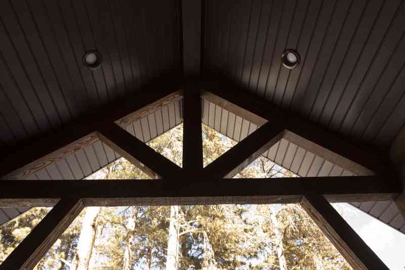 The inside view of the entry door trusses.