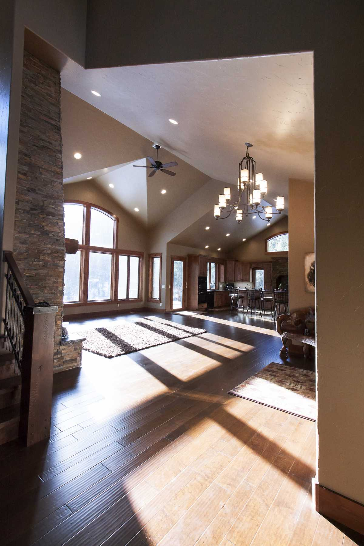 The multi-pitched roof makes for a gorgeous living room ceiling!