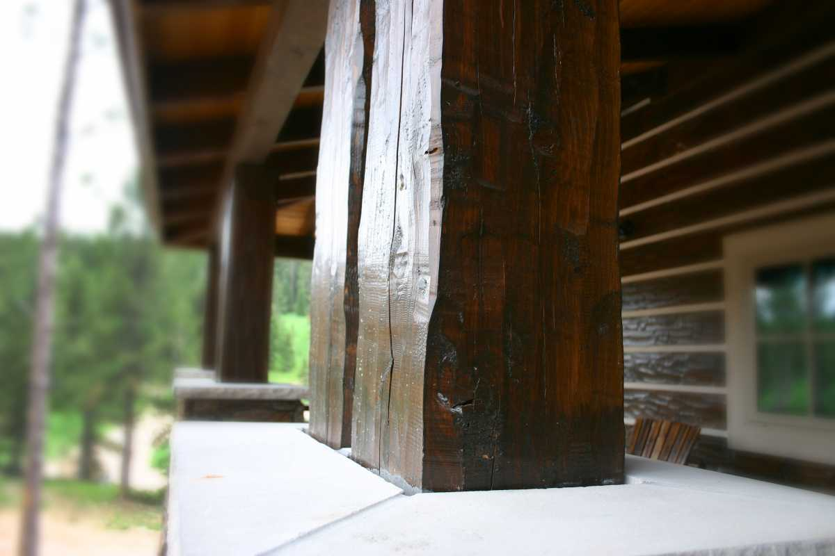 Double porch beams add gradeur to the back porch!
