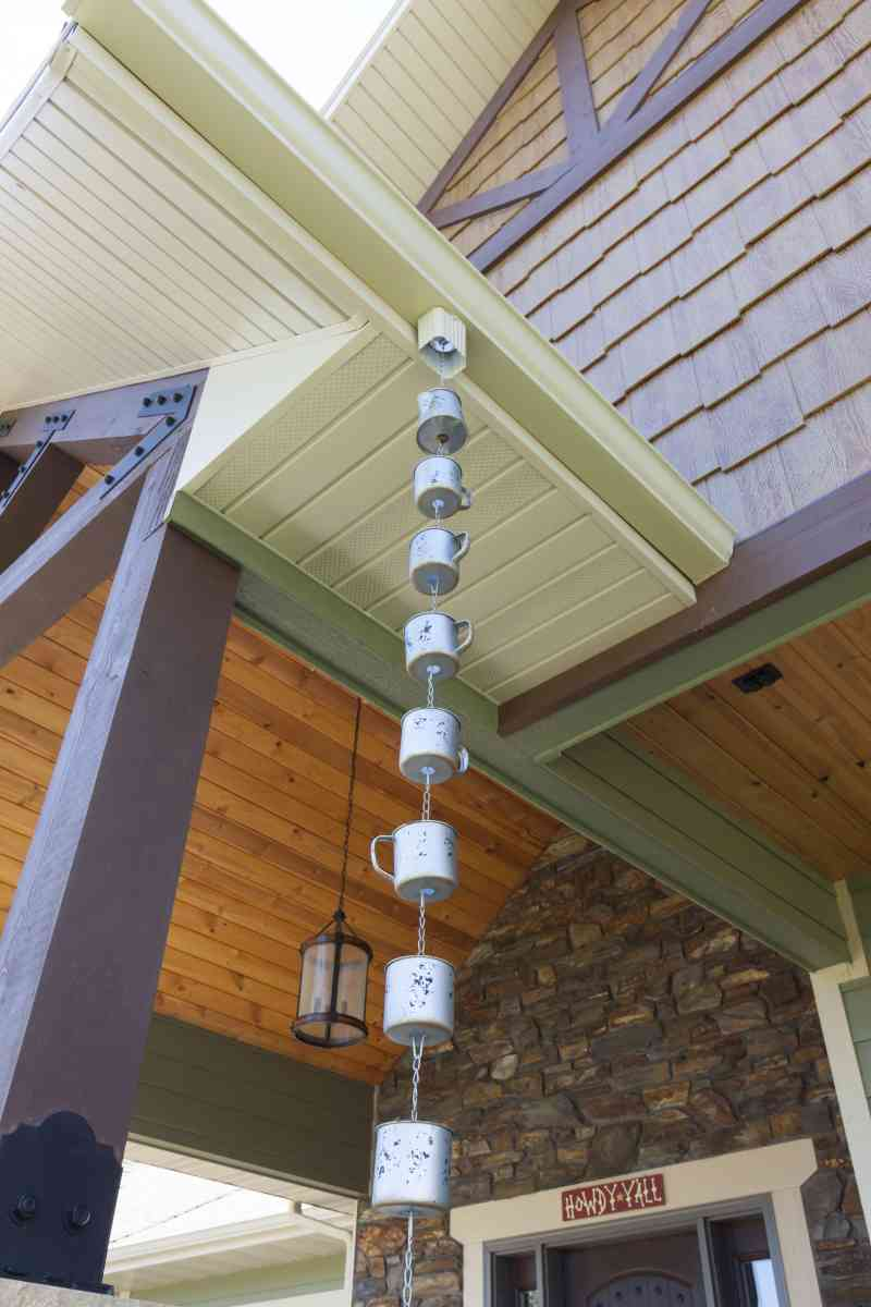 A closer view of the soffits and porch ceilings.