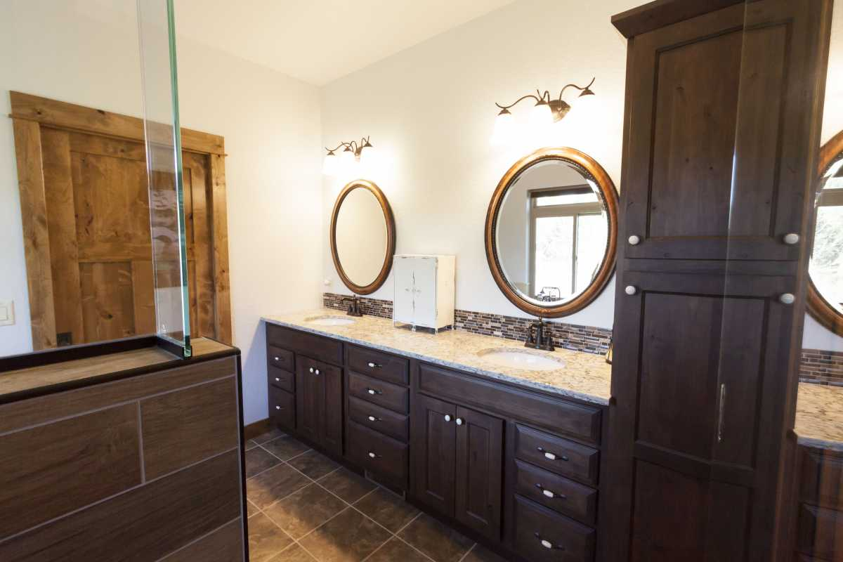 The double master vanity with granite tops.