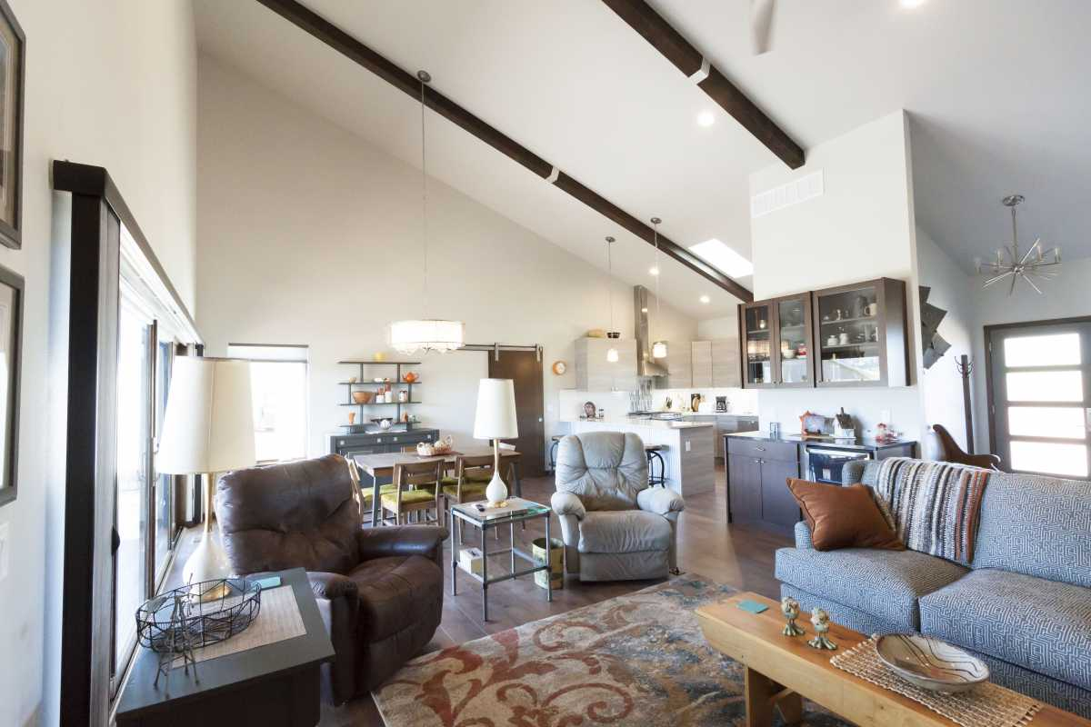 The spacious, open-concept living room and kitchen.